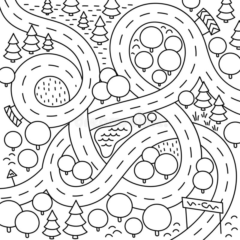 Road map for a children game on the table. Board game. Cartoon kids background. Pictures to colour. Contour line vector. Road map for a children game on the royalty free illustration