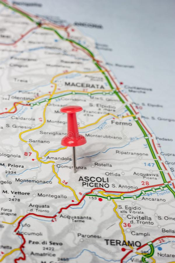 Ascoli Piceno pinned on a map of Italy stock photography