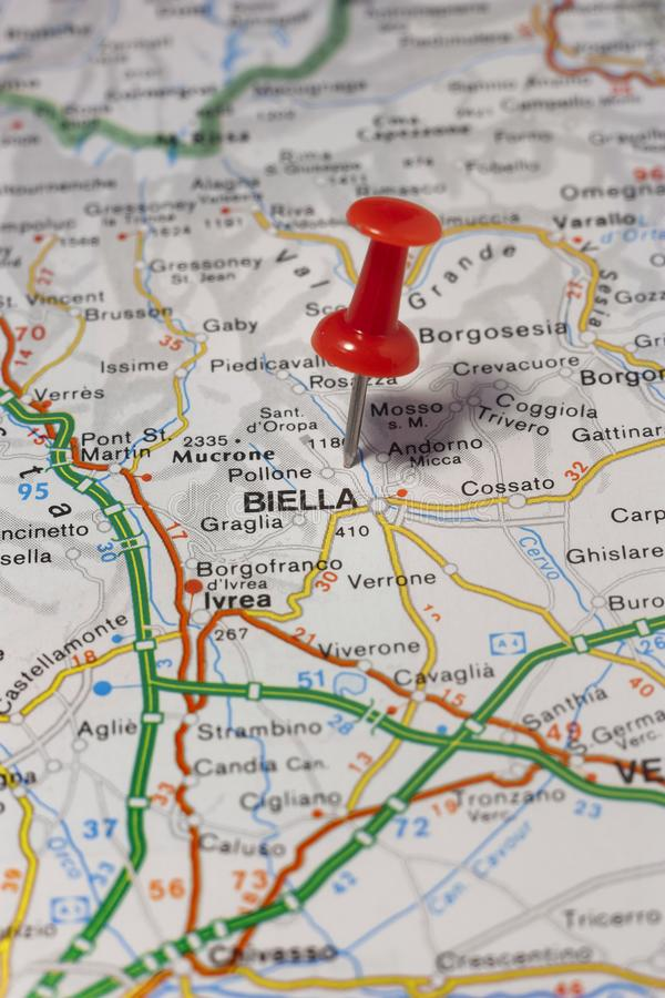 Biella pinned on a map of Italy. Road map of the city of Biella Italy stock images