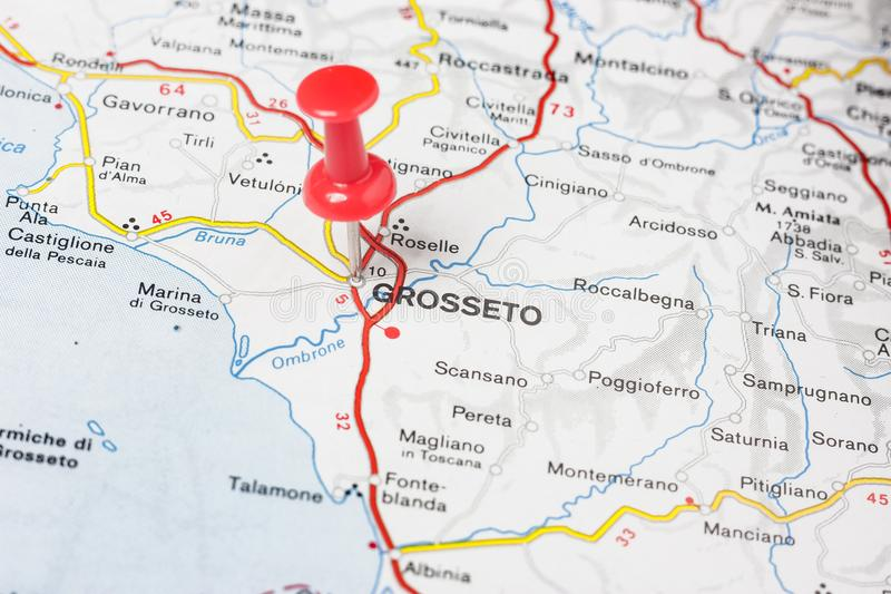 Grosseto pinned on a map of Italy. Road map of the city of Grosseto Italy royalty free stock photo
