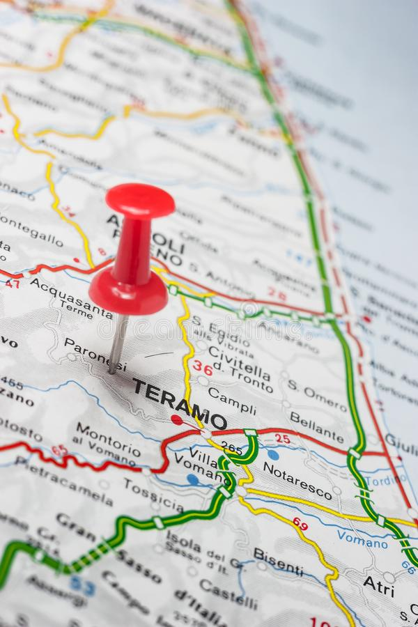 Teramo pinned on a map of Italy. Road map of the city of Teramo Italy stock image