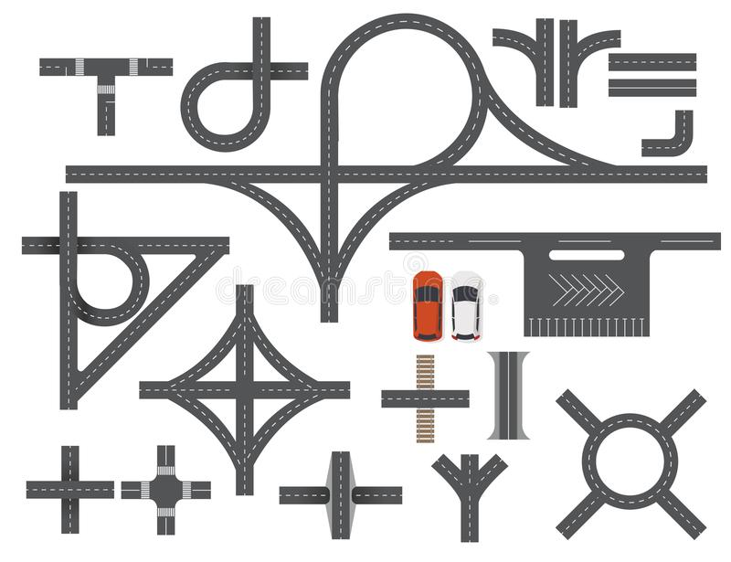 Road Map Design Element Set. Top view vector elements. Set of road Top view vector elements.Part of road highway, road junctions,road for traffic.Top view stock illustration