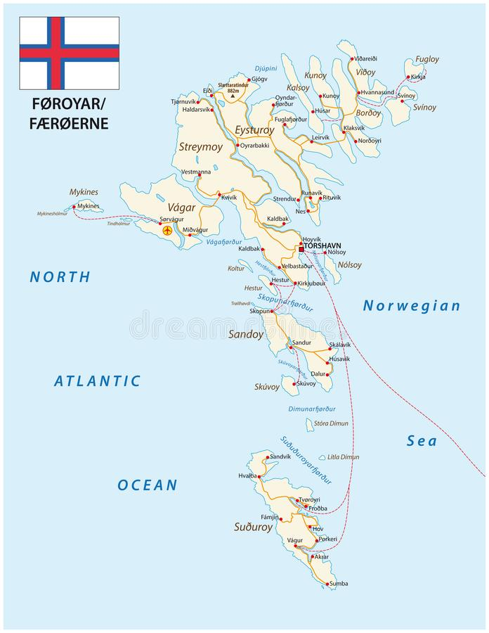 Road map of the Faroe Islands North Atlantic Archipelago with flag, Denmark.  vector illustration