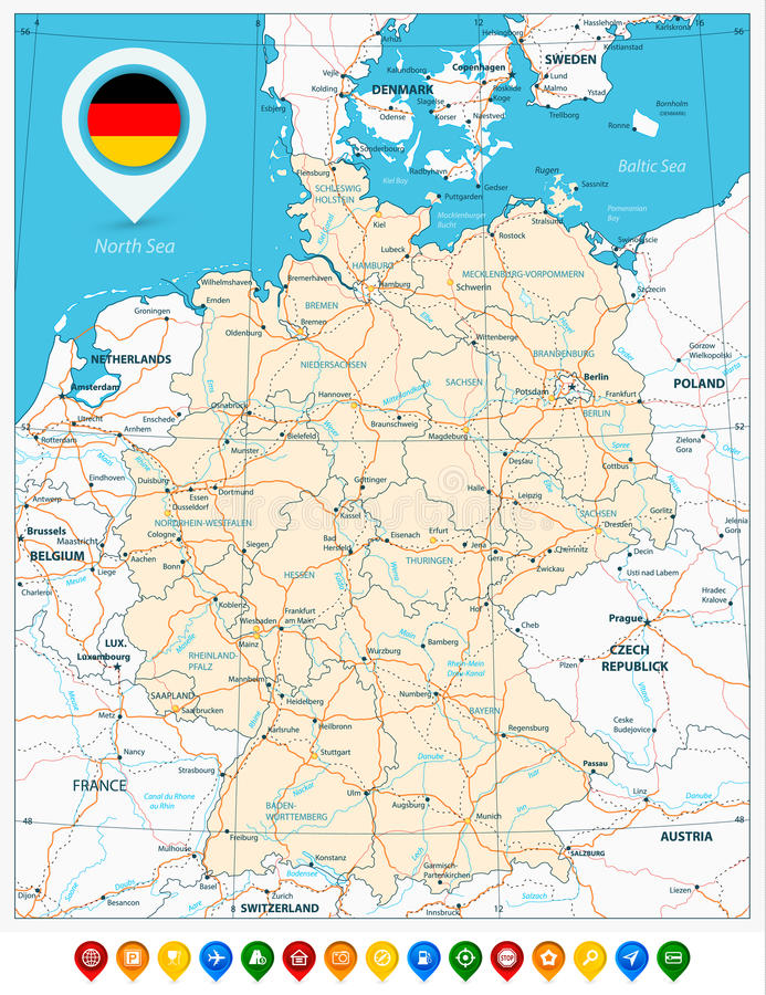 download road map of germany and colored map pointers stock vector illustration of country