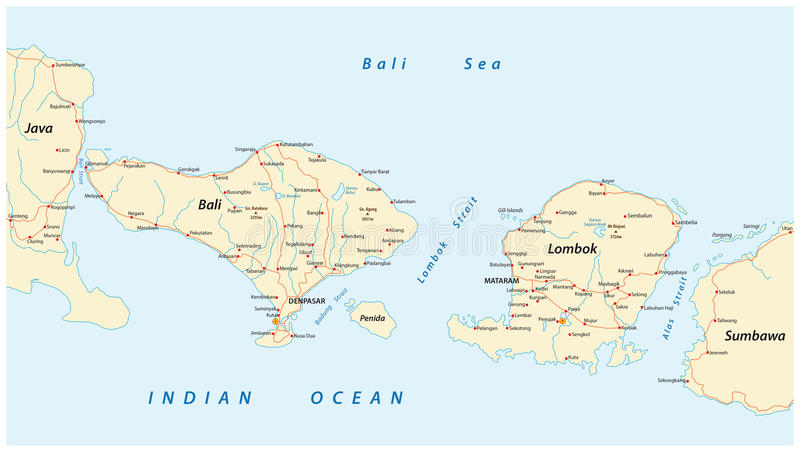 Road Map Of Indonesian Lesser Sunda Islands Bali And Lombok Stock