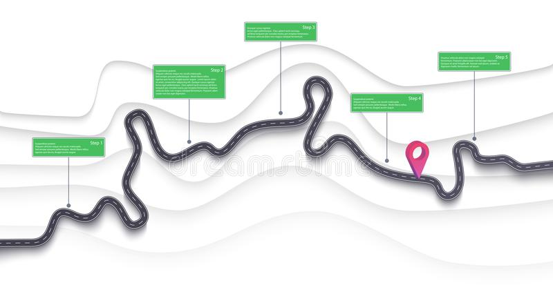 Road map and journey route infographics template. Winding road timeline illustration. Flat vector. Eps 10. Road map infographics template. Winding road timeline stock illustration