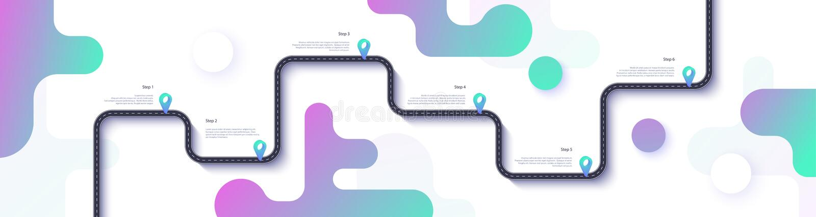 Road map and journey route infographics template. Winding road timeline illustration. Flat vector. Eps 10 royalty free illustration