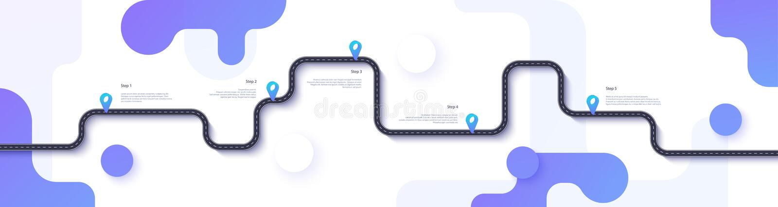 Road map and journey route infographics template. Winding road timeline illustration. Flat vector. Eps 10. Road map and journey route infographics template vector illustration