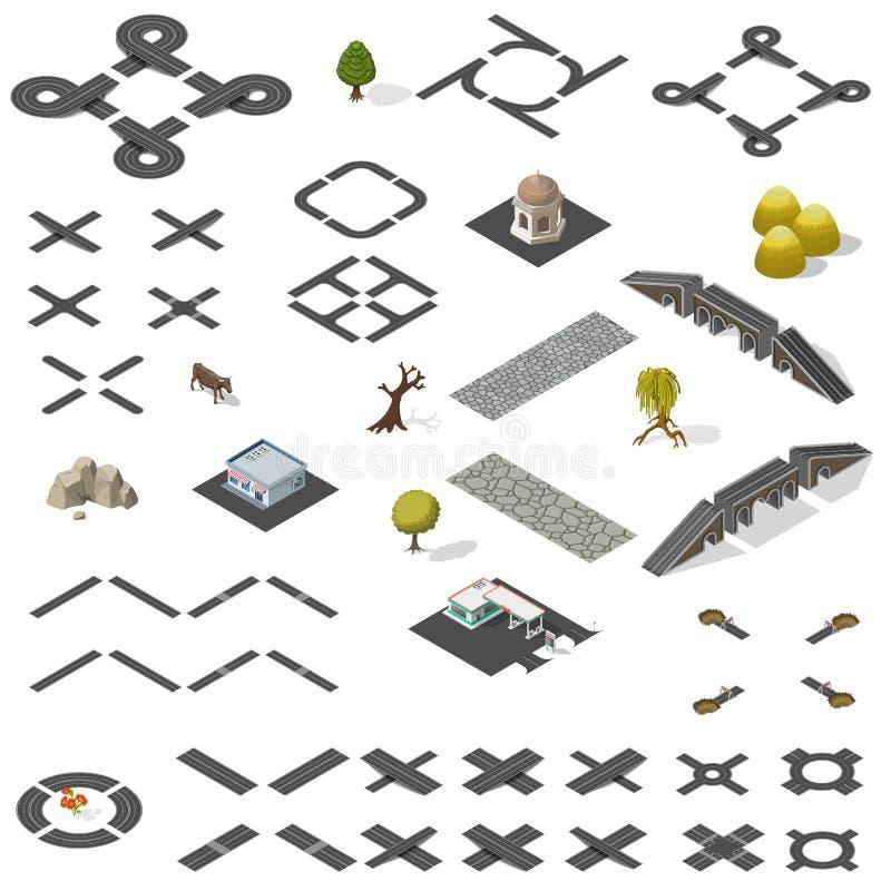 Free Road Map Kit Isometric Stock Image - 69724571