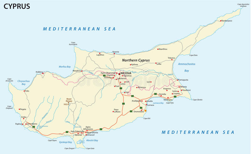 Road Map Of Mediterranean Island Cyprus Stock Vector Illustration