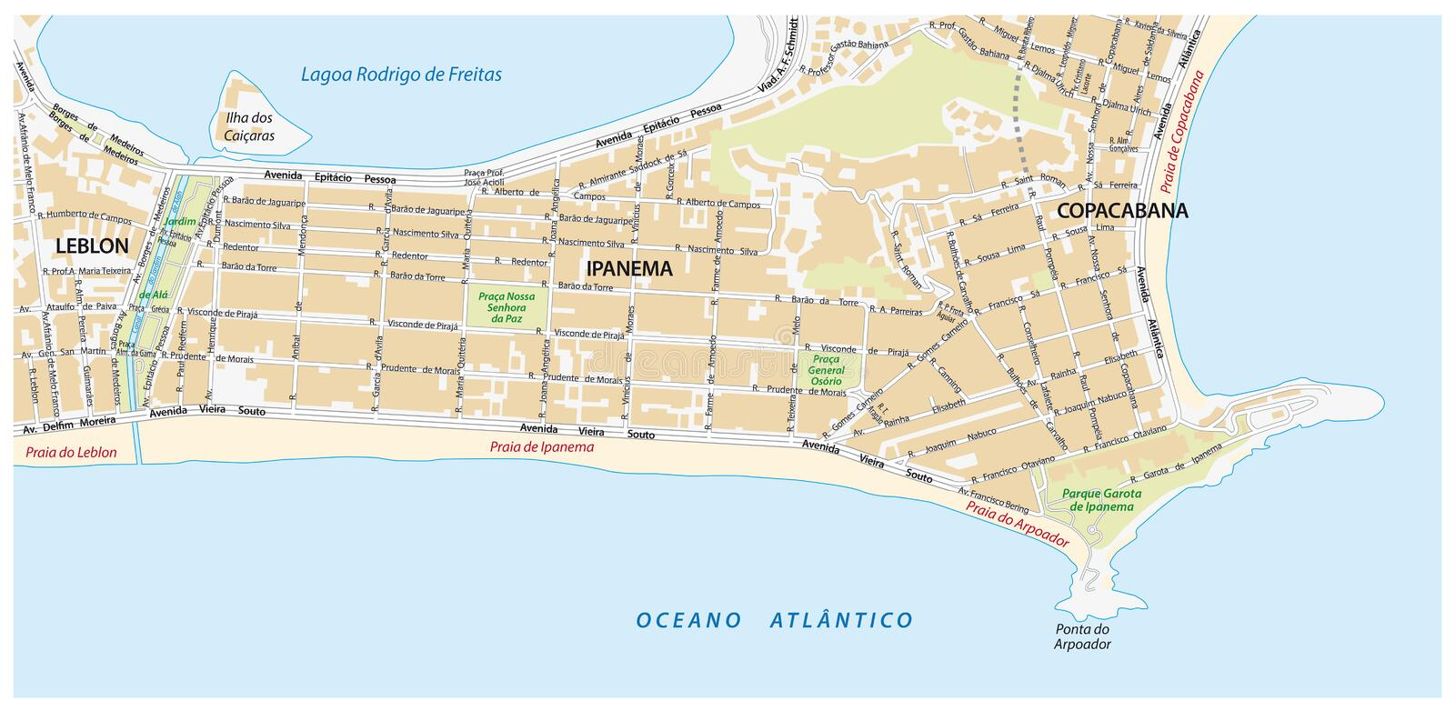 Road Map With Names Of The Ipanema District Of Rio De Janeiro Stock