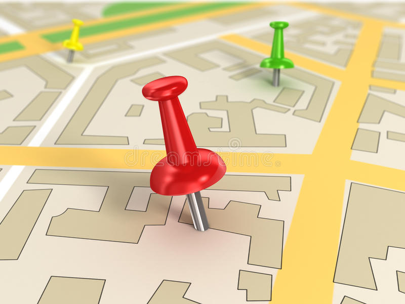 Road map with Pin Pointers. 3d rendering image stock illustration