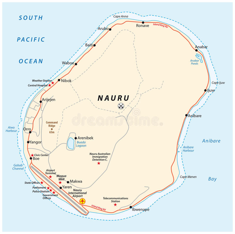 Road Map Of The Republic Of Nauru Stock Vector Illustration of