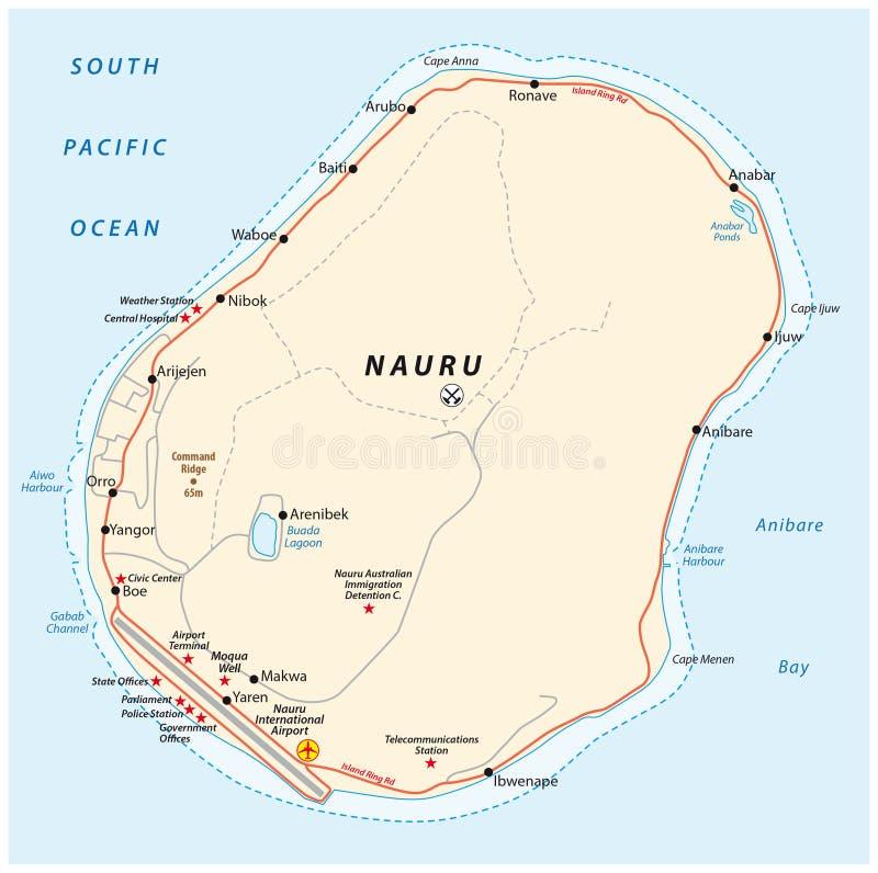 Road Map Of The Republic Of Nauru Stock Vector Image - Nauru map vector