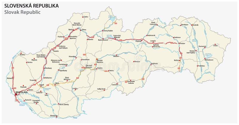 Road map of Slovakia stock illustration Illustration of roads