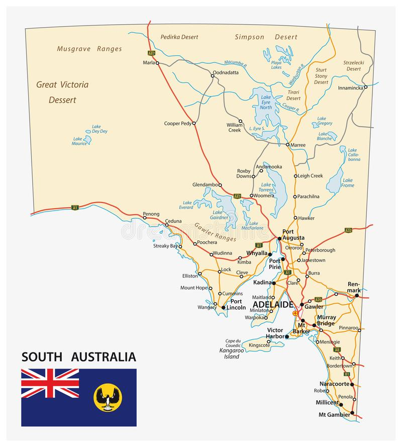 Road map of the state South Australia with flag royalty free illustration