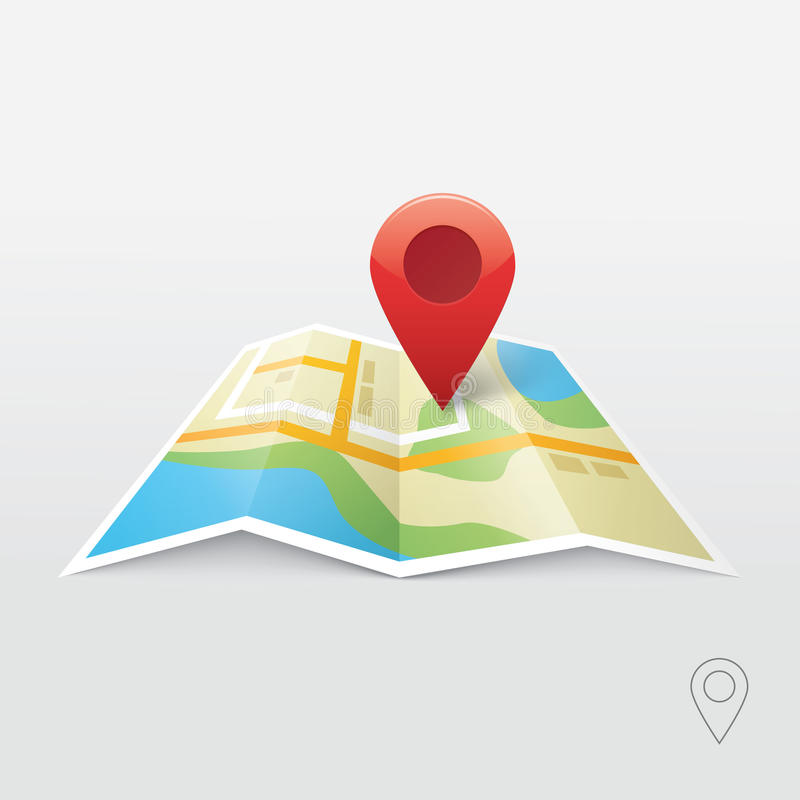Road map vector illustration, GPS navigation locator, new roadmap pin stock illustration