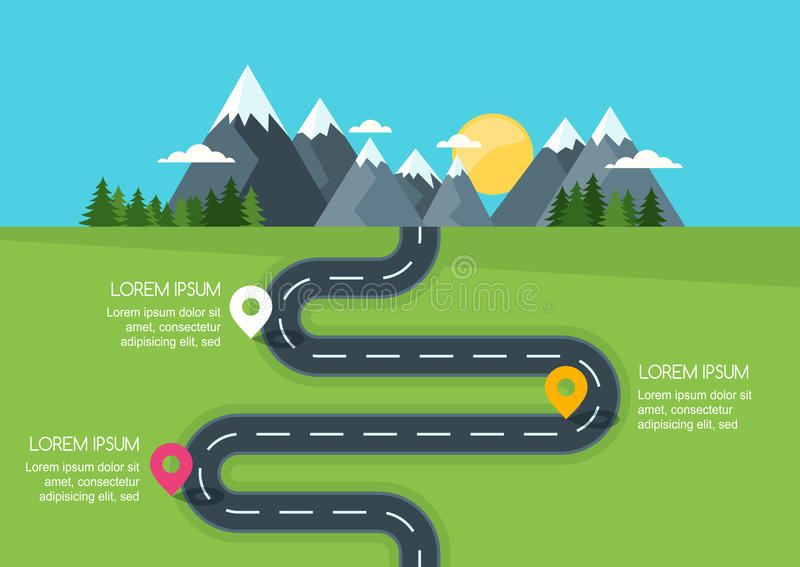Road with markers, vector infographics template. Winding road in green field and mountains. Rural street flat style illustration. Summer or spring landscape vector illustration