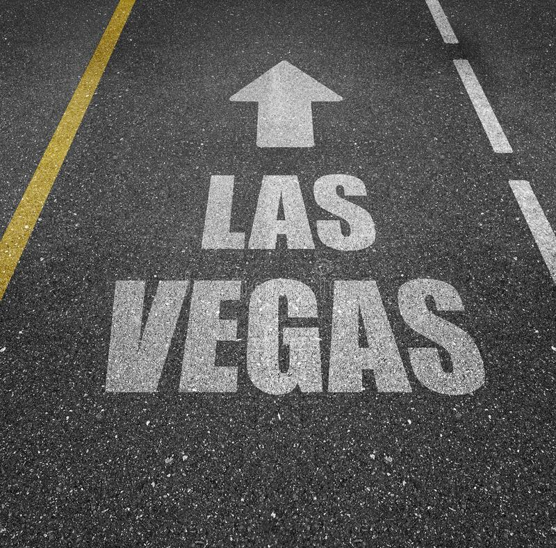Las Vegas road marking. Road marking painted on an asphalt street that says LAS VEGAS with an arrow above it pointing forward vector illustration