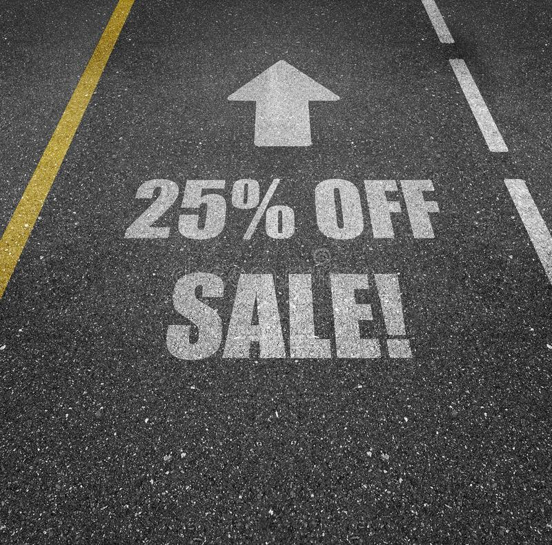 25% off sale road markings. Road marking painted on an asphalt street that says 25% OFF SALE! with an arrow above it pointing forward royalty free illustration