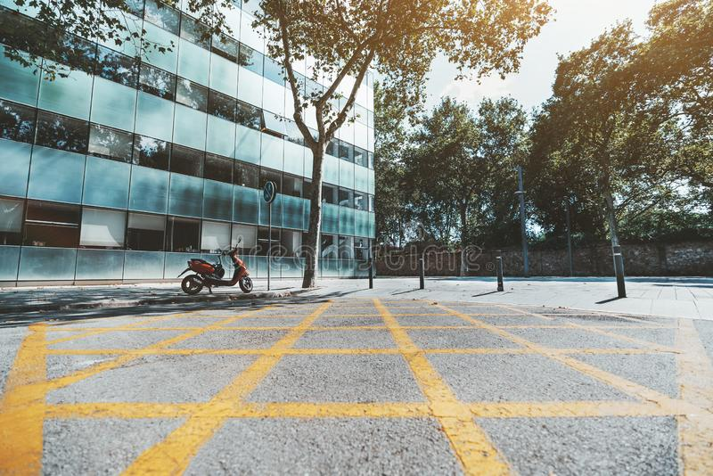 Road marking and space near building stock image