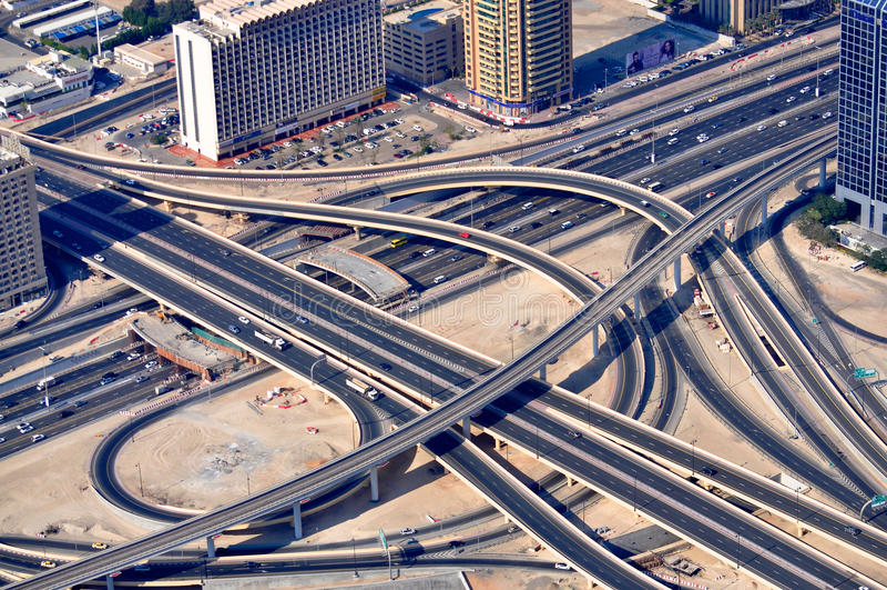 Road Maze in Dubai stock photos