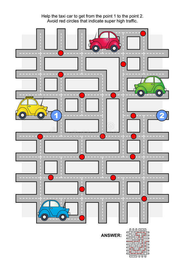 Road maze with taxi car. Road maze game: Help the yellow taxi car to get from the point 1 to the point 2. Avoid red circles that indicate super high traffic royalty free illustration