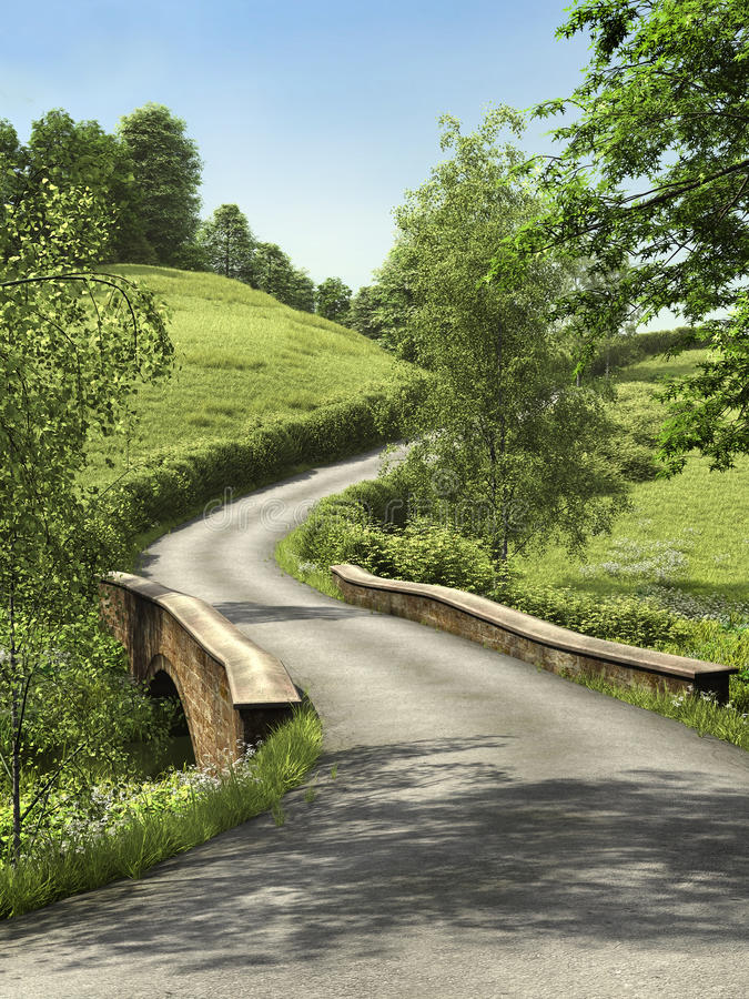 Road through a meadow stock illustration