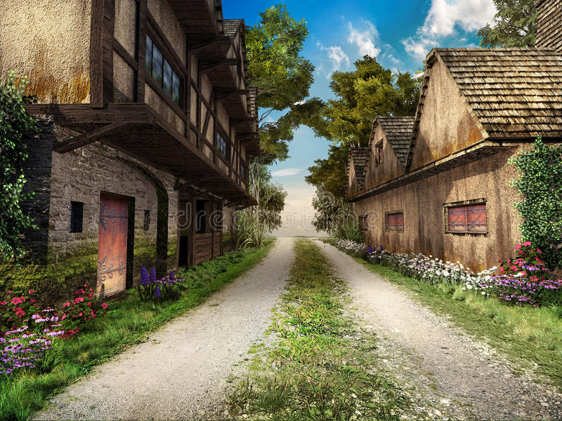 Road through medieval village stock illustration