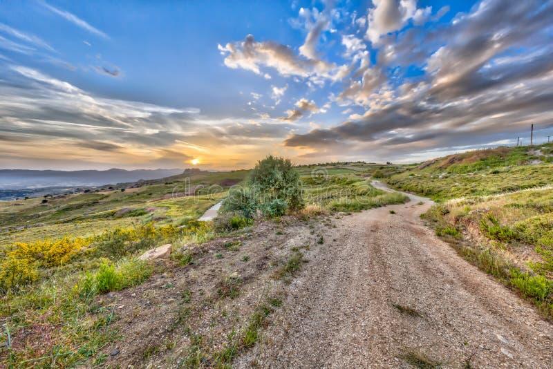 Road through Mediterranean landscape on the island of Cyprus stock photos