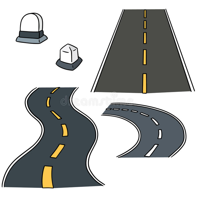 Road and milestone. Vector set of road and milestone royalty free illustration