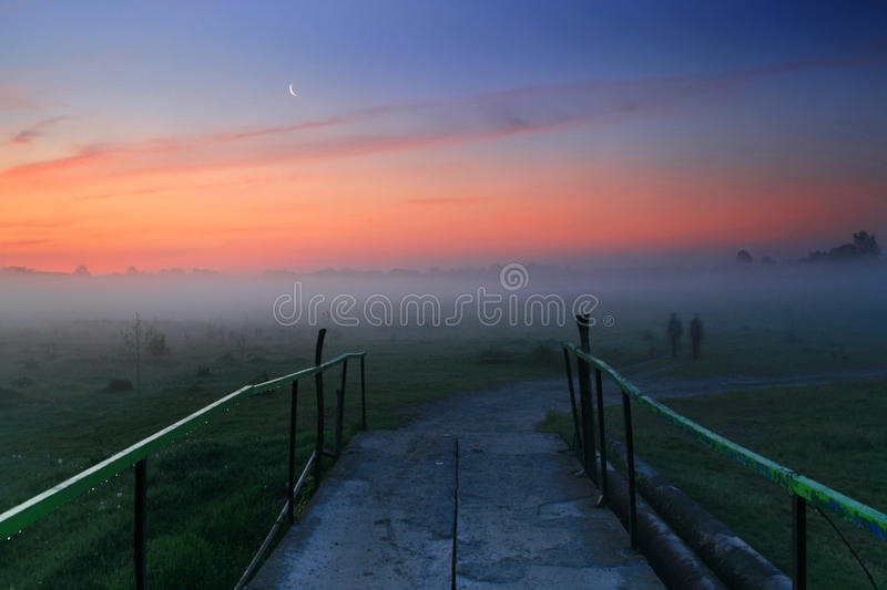 The road in misty dawn royalty free stock image