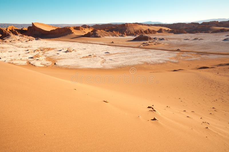 Road through The Moon Valley in Chile stock photos
