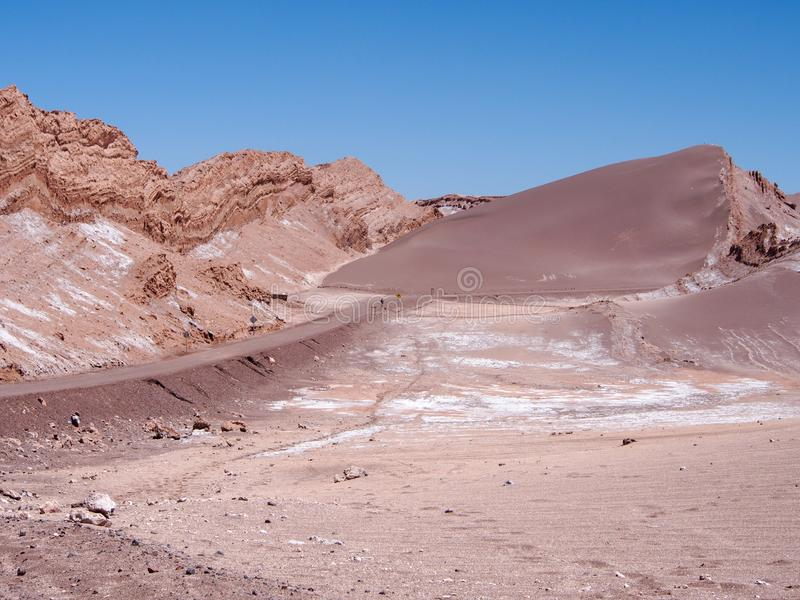 Rock and sand formation in the Moon Valley in Atacama Desert, Chile royalty free stock images