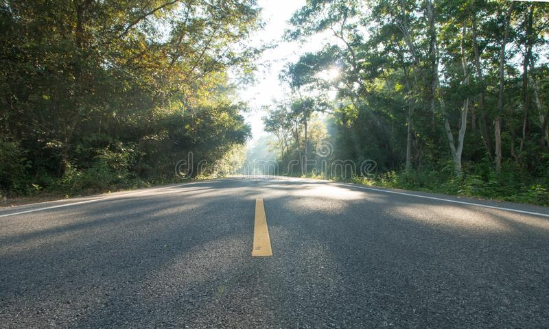 The road on morning and sunrise royalty free stock image
