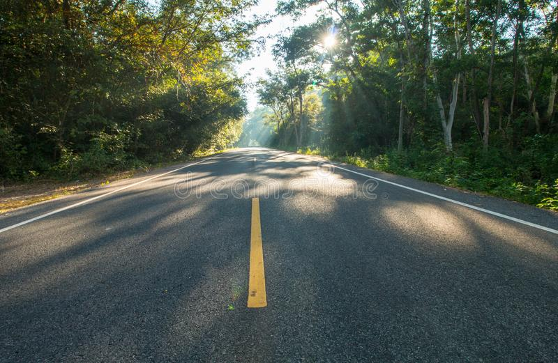 The road on morning and sunrise stock images