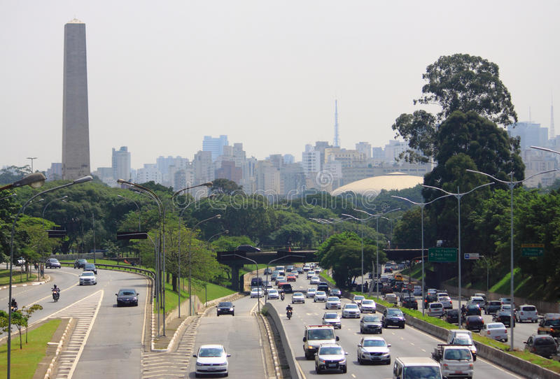 Road motion in Sao Paolo, Brazil royalty free stock photo