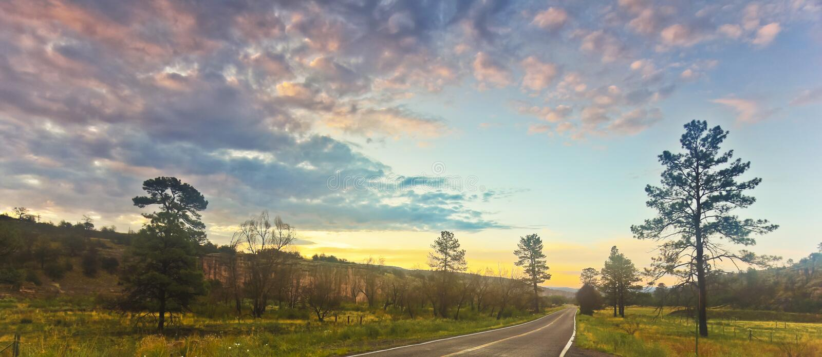 Download A Road In A Mounatin Valley At Sunrise Stock Image - Image: 33580463