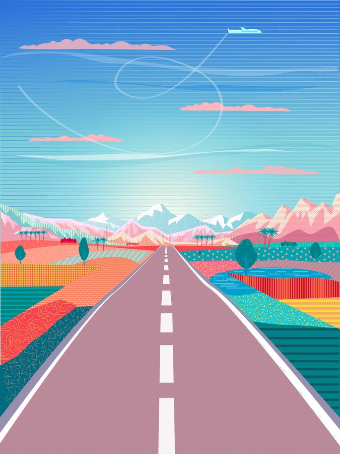 Road, Mountain, Landscape, Summer wallpaper royalty free illustration