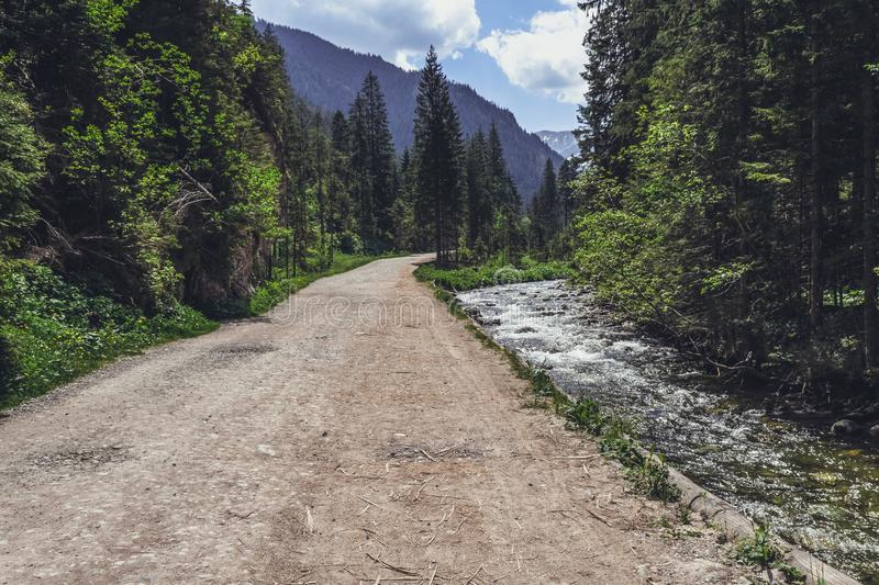 Road in mountain park near river royalty free stock photo