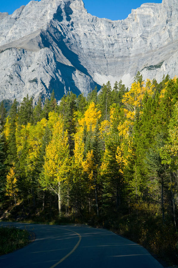 Road through mountains in fall royalty free stock photography