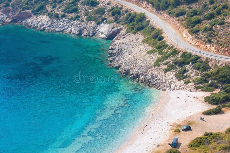 The road in the mountains near Blue lagoon in the Aegean sea royalty free stock photo