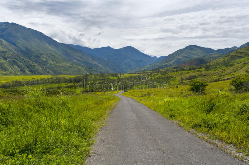 Road in mountains, New Guinea stock photos