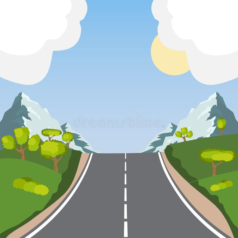The road in the mountains, the road goes to the mountains royalty free illustration