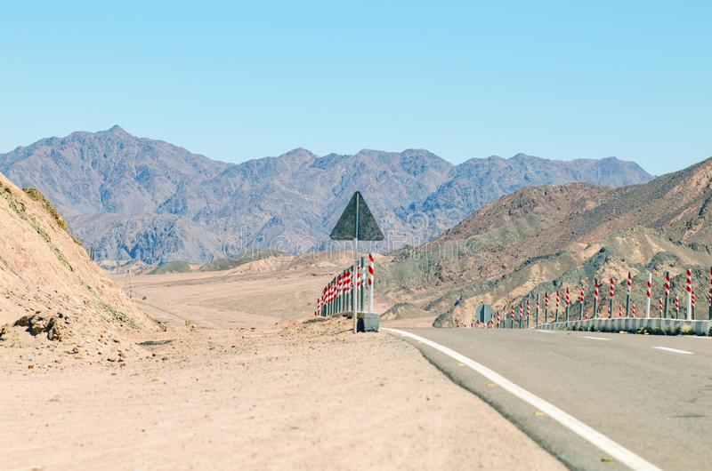 Road in the mountains on the Sinai Peninsula, Egypt.  stock photography