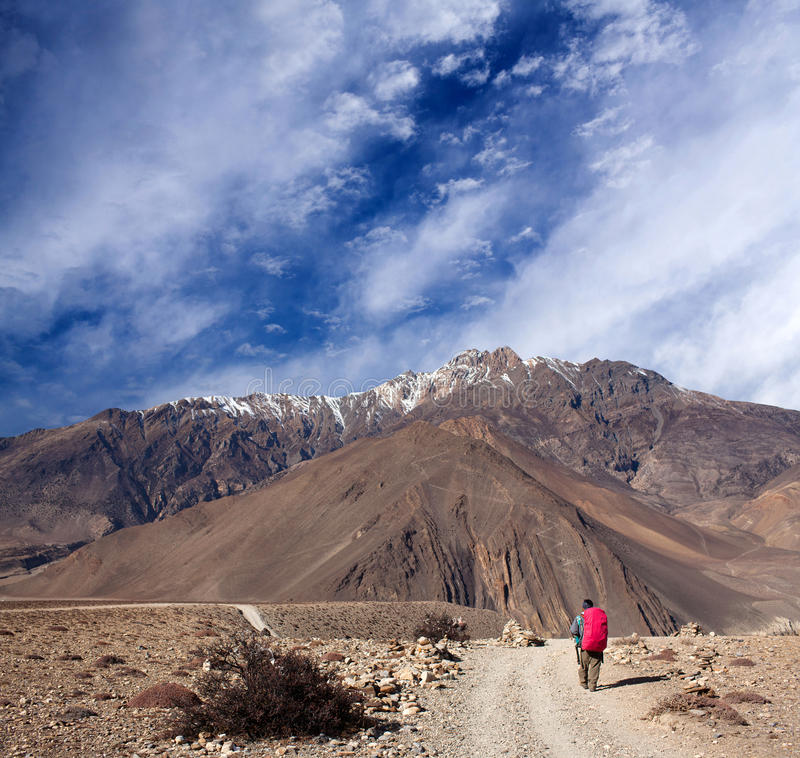 Road from Muktinath to Jomsom on Annapurna Circuit trek, Nepal royalty free stock photography