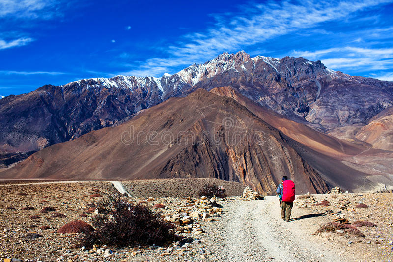 Road from Muktinath to Jomsom, Nepal. Road from Muktinath to Jomsom, a part of Annapurna Circuit trek in Annapurna conservation area, Nepal. Annapurna circuit stock images