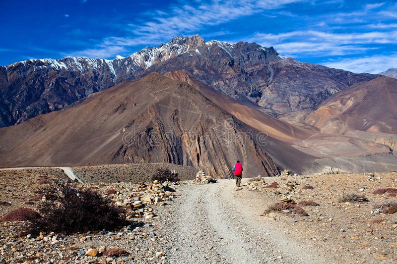Road from Muktinath to Jomsom, Nepal. Road from Muktinath to Jomsom, a part of Annapurna Circuit trek in Annapurna conservation area, Nepal. Annapurna circuit royalty free stock photography
