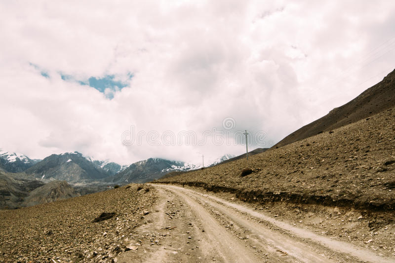 Road from Muktinath to Kagbeni. A part of Annapurna Circuit trek in Annapurna conservation area, Nepal. Annapurna circuit the popular trekking trail in stock images