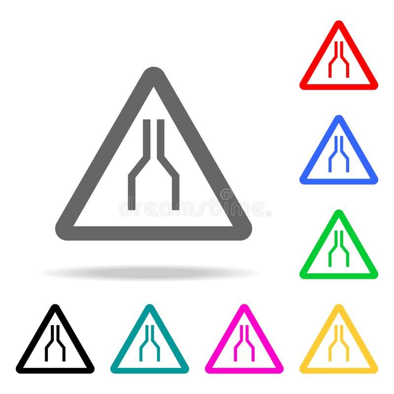 Road Narrows on Both Sides Ahead Sign icon. Elements in multi colored icons for mobile concept and web apps. Icons for website des stock illustration
